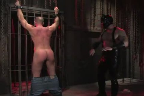 bdsm homosexual In Metal Restraints anal slamed